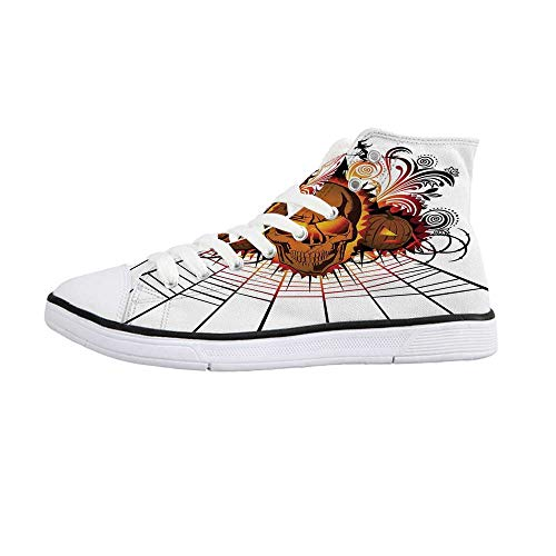 Halloween Decorations Comfortable High Top Canvas ShoesAngry Skull Face on Bonfire Spirits of Other World Concept Bats Spider Web for Women Girls,US 7 -