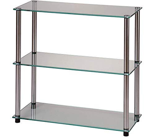 (Cоnvеniеncе Cоncеpts Office Home Furniture Premium Go-Accsense 3-Shelf Glass Bookcase, Clear)