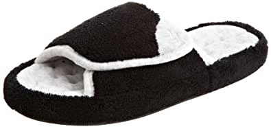 Isotoner Women's Microterry Spa Slide (X-Small - 5.5-6, Black)