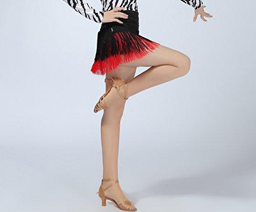 Salle De Bal Frange Whitewed Jupes De Performance De Danse De Salsa Latine Pour Les Femmes Adultes Noir / Rouge