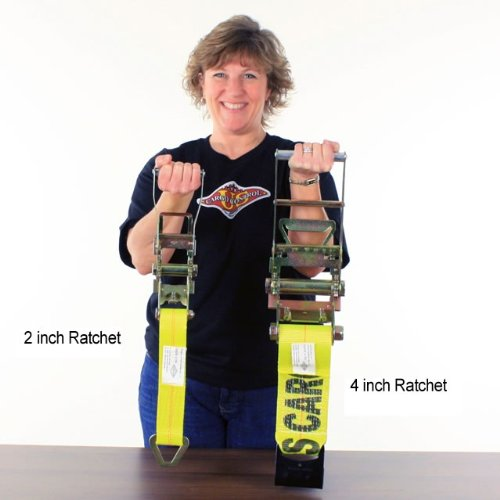 2'' X 50' Ratchet Tie Down Strap with Long, Wide Handle & Flat Hooks by US Cargo Control (Image #3)