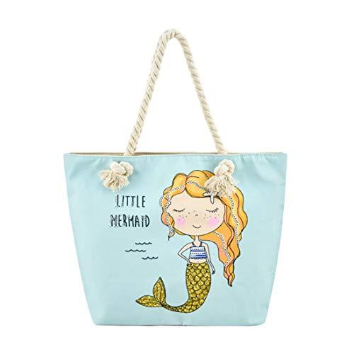 Large Beach Travel Canvas Tote Cute Shoulder Shopping Bag, Mermaid-3