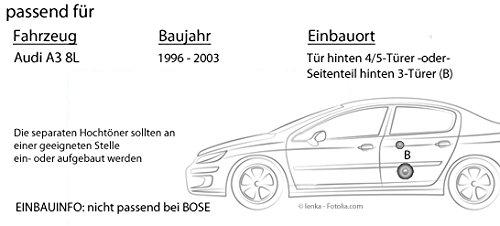 Audi A3 8L Trasero - Altavoces Cajas autotek ATX de 6.2 C | Sistema de Altavoces de 2 Vías 16 cm 16,5 cm Auto Juego de Instalación de Accesorio ...
