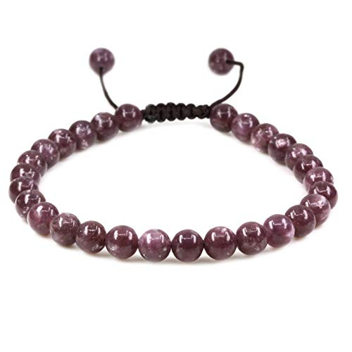 Natural A Grade Lepidolite Lithium Mica Gemstone 6mm Round Beads Adjustable Bracelet 7