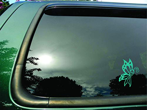 Butterfly Ribbon Teal Ovarian Cerival Cancer - Die Cut Vinyl Window Decal/sticker for Car or Truck 3.5