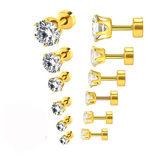 Simulated Diamond Earrings 20G Cubic Zirconia CZ Ear Stud Earrings Gold Plated Stainless Steel Screw Flat Back Post Earrings for Women ()
