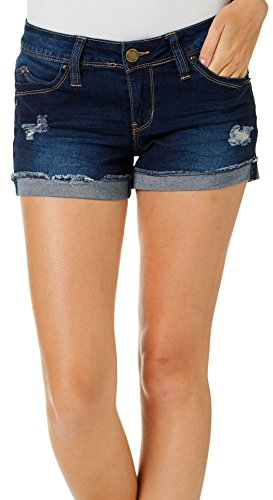 YMI Juniors Destructed Flap Pocket Denim Shorts 7 Dark wash Denim (Womens Flap Shorts)