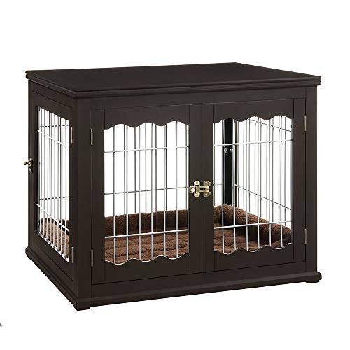 unipaws Pet Crate End Table with Pet Bed, Wooden Wire Dog Kennels with Double Doors, Modern Design Dog House Indoor Use, Espresso