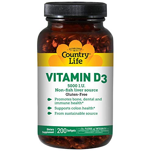 Country Life - Vitamin D3, Non-fish 5000 IU - 200 Softgels