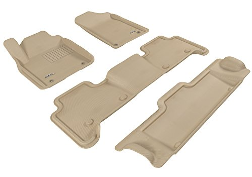 3D MAXpider Complete Set Custom Fit All-Weather Floor Mat for Select Infiniti QX56 Models - Kagu Rubber (Tan)