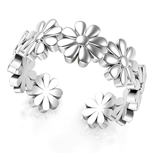Flower Adjustable Toe Ring (Sterling Silver Daisy Flower Adjustable Toe Band Ring)