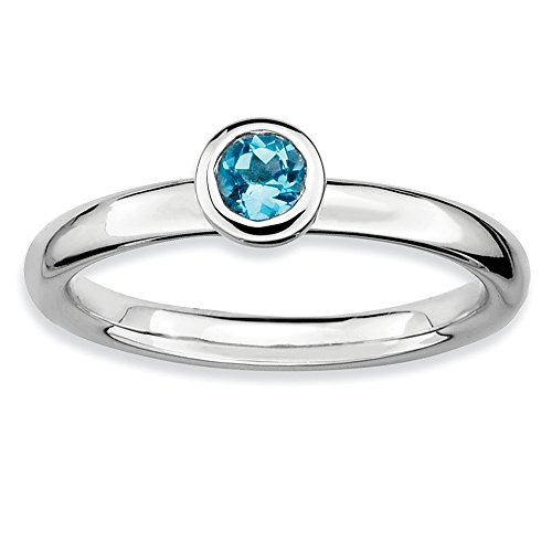 Sterling Silver Stackable Expressions Low 4mm Round Blue Topaz Ring from Jewels By Lux