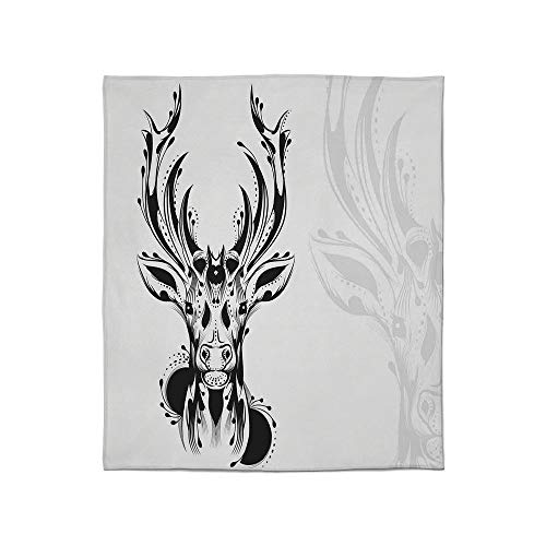 YOLIYANA Lightweight Blanket,Antlers Decor,for Bed Couch Chair Fall Winter Spring Living Room,Size Throw/Twin/Queen/King,Tribal Deer Head Shadow Art Emblem -