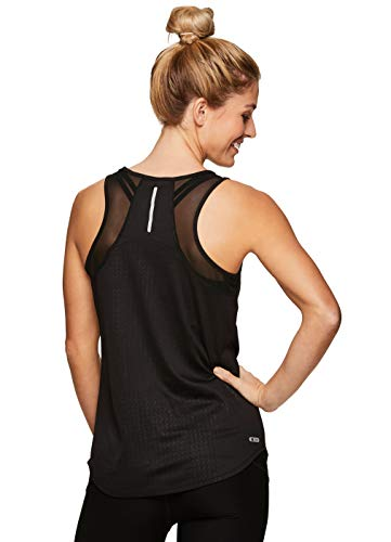 RBX Active Women's Mesh Panel Workout Running Yoga Tank Top S19 Mesh Black L