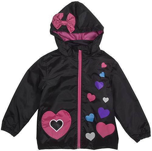Rainbow Daze Girls Rain Coat Jacket,Bow and Hearts Multi Color,Waterproof Rain Coat Jacket with Hood, Size 6/6x, Black, Rainin' Hearts (Bow Coat)