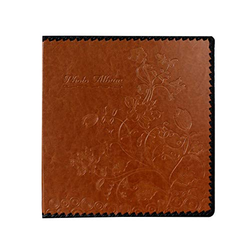 Beautyus Photo Album Book, Family Album, Leather Cover, Holds 3x5, 4x6, 5x7, 6x8, 8x10 Photos (Brown, M)