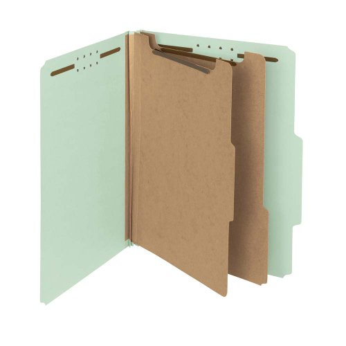 (Smead 100% Recycled Pressboard Classification File Folder, 2 Dividers, 2