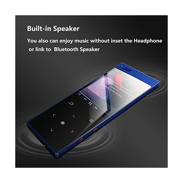 MP3 Player with Bluetooth4.2, 16GB Portable MP3 Player with Speaker Touch Button/1.8TFT Screen Metal Body HiFi Music Player with FM Radio, Voice Recorder, Supports up to 128GB SD Card 6