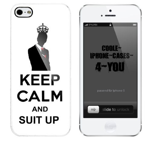 Iphone 5 Case Keep Calm and Suit Up Rahmen weiss