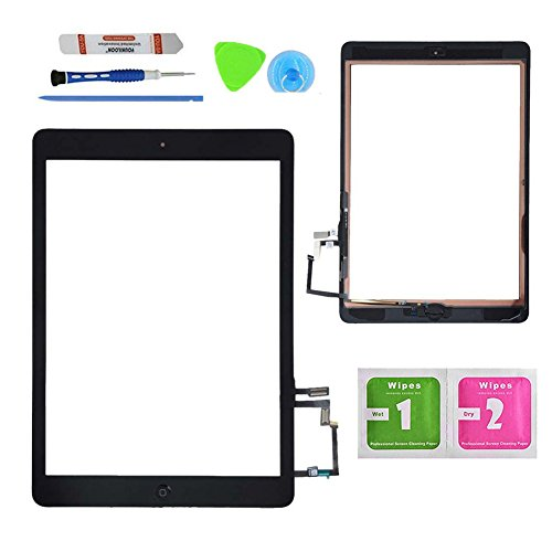 Monstleo Black Digitizer Touch Screen Outer Glass Panel for iPad Air 1st Gen Generation with Home Button Flex Cable Assembly + Premium Tools + Adhesive Tape