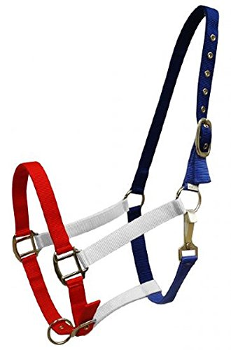 Showman Red, White, and Blue Nylon Double Stitched Horse Halter