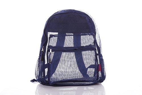 Clear Mesh Backpack For Kids Men & Women By Bravo - Large School & Travel Bag - Stylish Transparent See Through Design - Comfortable Padded Shoulder Straps - Utility Pocket & Bottle Holders (Navy)