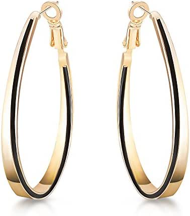 "T400 Jewelers Eco Alloy ""Golden Love"" Exaggerated Hoop Earrings Gift Gold Plated"