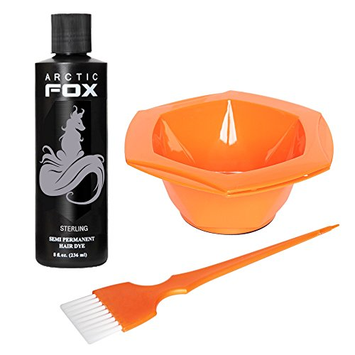 Arctic Fox Bundle with Tint Brush and Bowl, 100% Vegan Semi Permanent Hair Color Dye, 4 Oz or 8 Oz (8oz, Sterling)