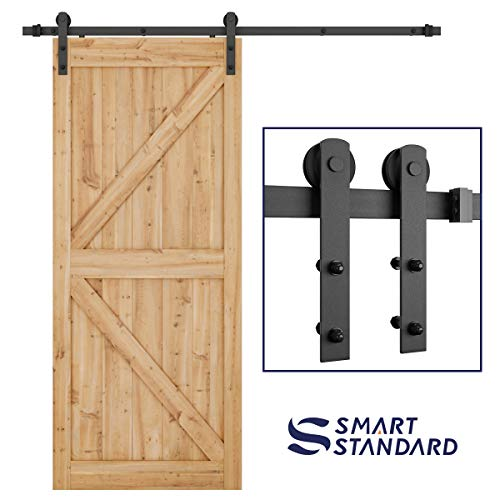 (SMARTSTANDARD 6.6ft Heavy Duty Sturdy Sliding Barn Door Hardware Kit -Smoothly and Quietly -Easy to install -Includes Step-By-Step Installation Instruction Fit 36