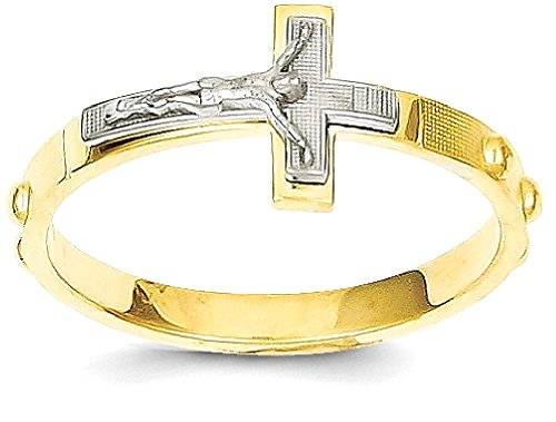 ICE CARATS 14k Two Tone Yellow Gold Crucifix Cross Religious Rosary Band Ring Size 7.00 Fine Jewelry Gift Set For Women Heart