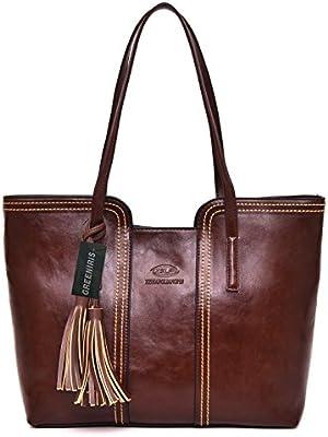 cd3d7c8c261cb Greeniris Hobo Handtasche Damen Retro Vintage Umhängetasche Faux Leder  Handtasche Für Schule Braun