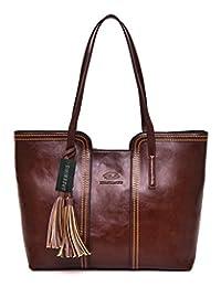 Greeniris Elegant Women Faux Leather Handbag for Ladies Shoulder Bags Totes Purse Brown