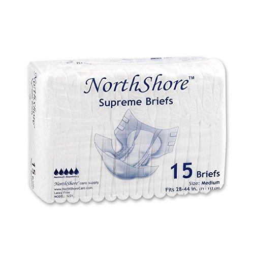 NorthShore Supreme Briefs, Medium, Pack/15 (White Barrier Free Barrier)