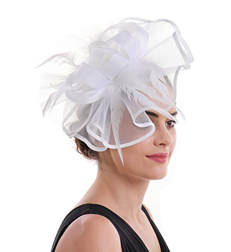 Lucky Leaf Women Girl Fascinators Hair Clip Hairpin Hat Feather Cocktail Wedding Tea Party Hat (5-White)