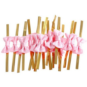 Funcoo 100 pcs Lovely Cute Bow Twist Tie for Bakery Candy Lollipop Cello Bag (Lovely Pink Bow)