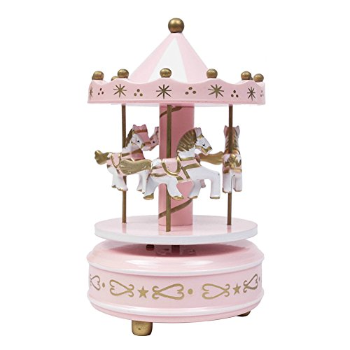 - Wooden Carousel Music Box 4 Horses Rotating Carousel Mechanical Music Box for Children/Adults (Pink)