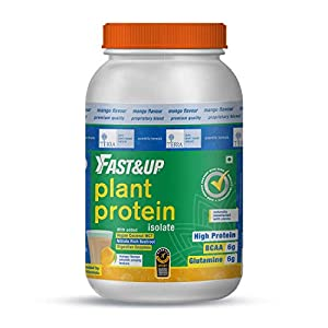 Fast&Up Plant Protein Powder 1350g, Delicious Mango Flavour, 30G Organic Vegan Protein For Men & Women, Pea & Brown Rice…