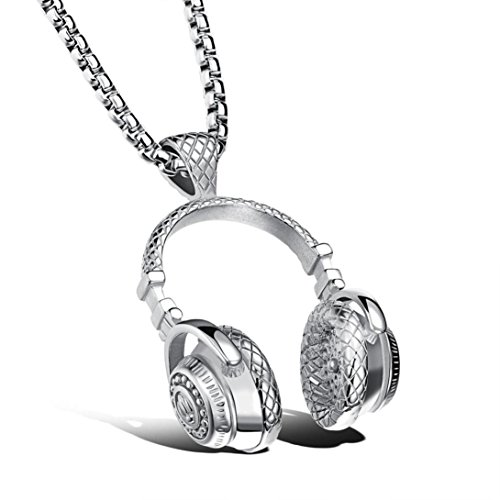 Earphone Pendant Necklace,Han Shi Hip Hop Microphone Earphone Headset Amulet Chain (Silver, L) (Mic Prom Dresses)