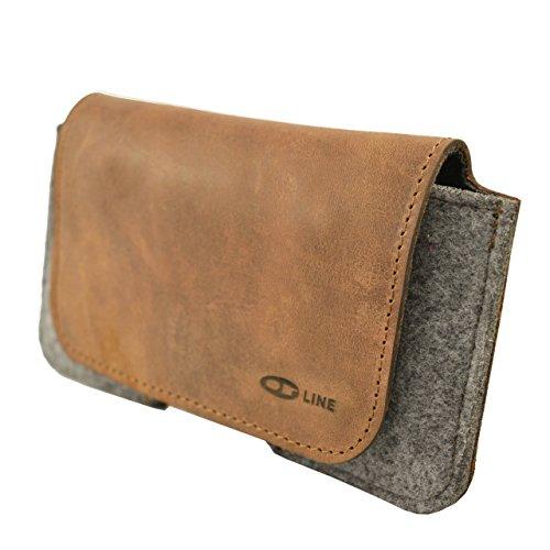 OrLine Tasche Holster Echt Leder-Schutzhülle Apple Iphone 5 S Lederetui Hülle Handytasche Leder Case Cover mit Magnetverschluss Halterung an Gürtelschlaufe in der Farbe braun/grau Handarbeit.