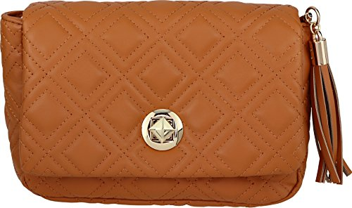B BRENTANO Vegan Quilted Flap-Over Crossbody Bag with Chain Strap and Tassel Accent (Tan) - Quilted Bag Tan
