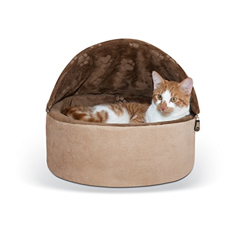 K&H Pet Products Self-Warming Kitty Bed Hooded Small Chocolate/Tan 16″