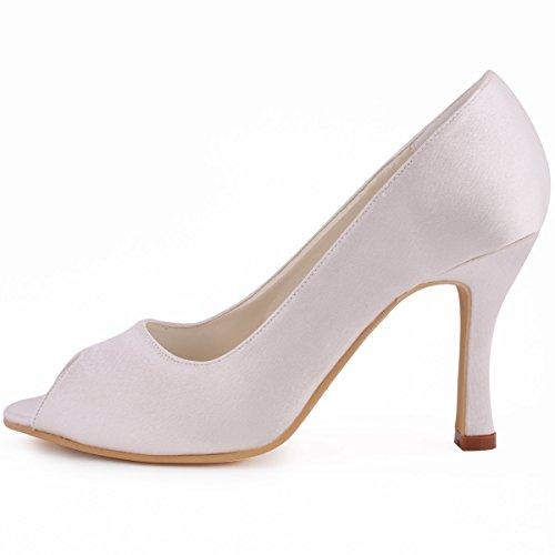 Zapatos Tacón Boda Ivoire Baile EP11017 Satén Fiesta Mujer Toe de de Peep Zapatillas Aguja ElegantPark TwaqRzPz