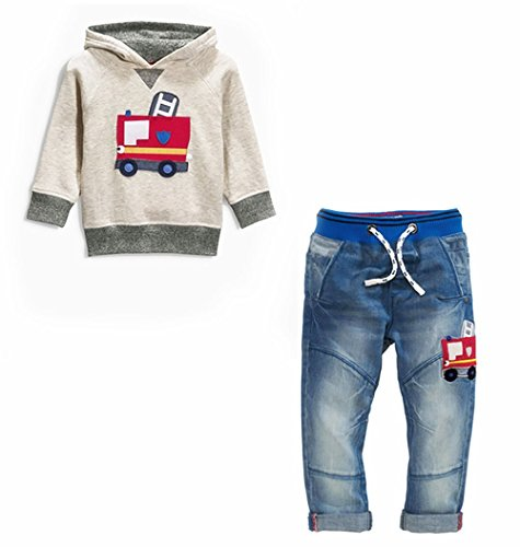 Miniowl Boys` Fire Truck Printed Hoodie and Denim Jeans Outfit 2pcs set 4T