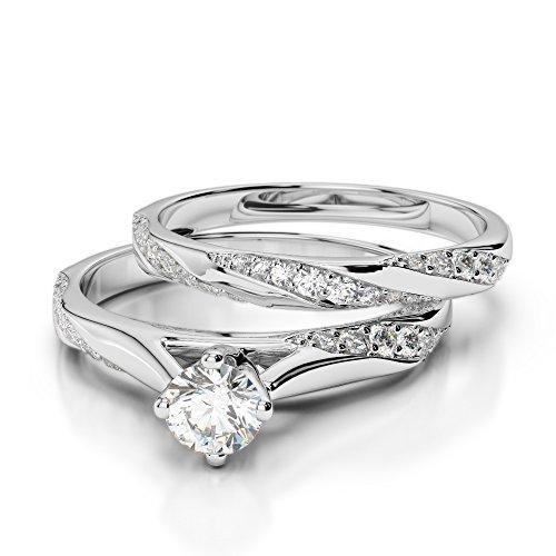 Or blanc 18carats 0,67CT G-H/VS sertie de diamants Coupe ronde de mariage Bague de fiançailles et ensemble de Agdr-2059