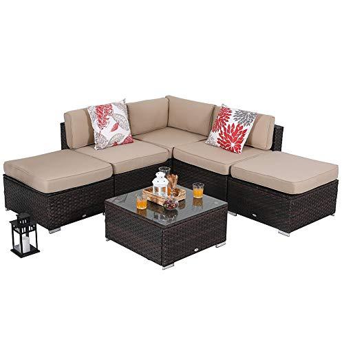 PHI VILLA Outdoor Rattan Sectional Sofa- Patio Wicker Furniture Set (6-Piece 3, Beige)