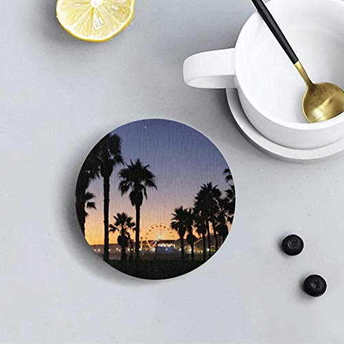 Beach Tumblr Palm Unique Diatomite Drink Coasters Environmental Health Absorbent Coaster Prevent Furniture From Dirty and Scratched Suitable for Kinds Of Cup and Mugs -