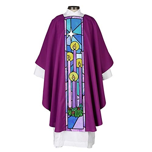Religious Stained Glass and Royal Purple Advent Chasuble with Matching Inner Stole, 51 Inch
