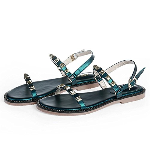 Gemelos Sandalias De Verano Femenina Remaches Zapatos Planos Green