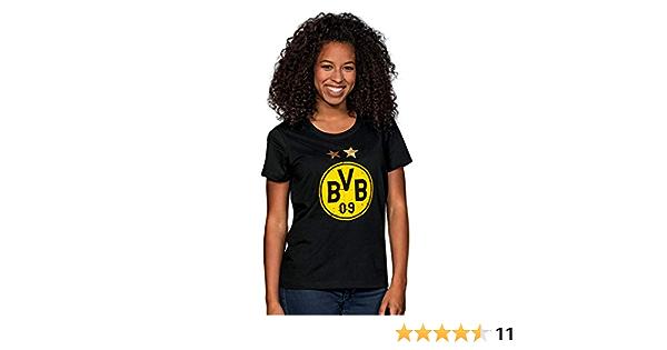 Borussia Dortmund Camiseta con logo, Mujer, Negro/Amarillo, 3XL
