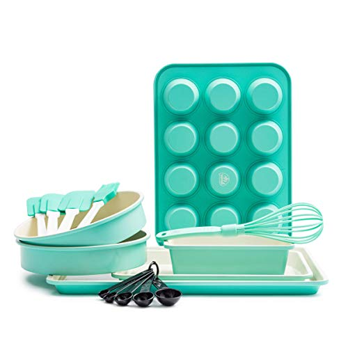 GreenLife CC002429-001 Bakeware Ceramic Baking Set, 12pc, Turquoise (Renewed)